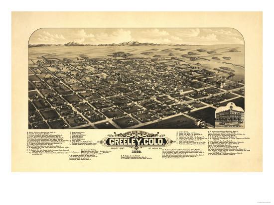Colorado - Panoramic Map of Greeley-Lantern Press-Art Print