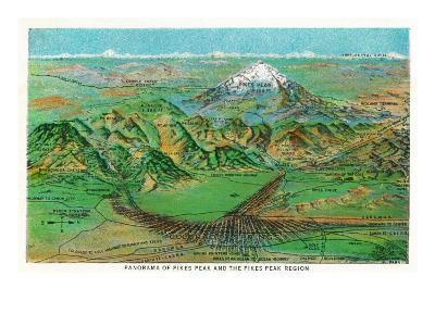 Colorado, Panoramic View of Pikes Peak and the Region, Map-Lantern Press-Art Print