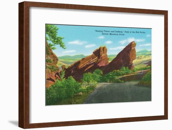 Colorado, Park of Red Rocks View of the Sinking Titanic and Iceberg, Denver Mt. Parks-Lantern Press-Framed Art Print