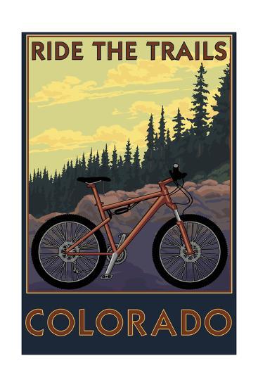 Colorado - Ride the Trails-Lantern Press-Art Print