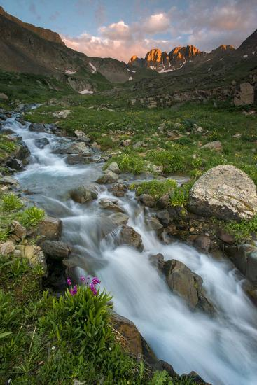Colorado, Rocky Mountain Sunset in American Basin with Stream and Alpine Wildflowers-Judith Zimmerman-Photographic Print