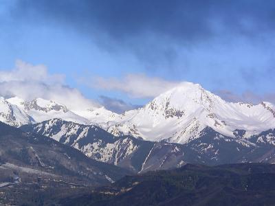 Colorado, Snow Mass Village, Sunrise Light and Cloud Swirl About Mt--Photographic Print