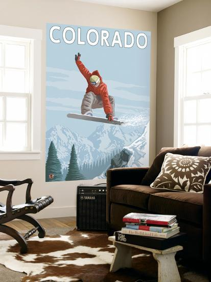 Colorado, Snowboarder Jumping-Lantern Press-Wall Mural