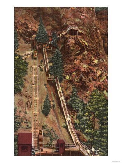 Colorado Springs, CO - Eagle Nest Point & Incline Railroad-Lantern Press-Art Print