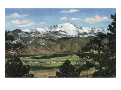 Colorado Springs, CO - Pikes Peak Towering Over Town-Lantern Press-Art Print