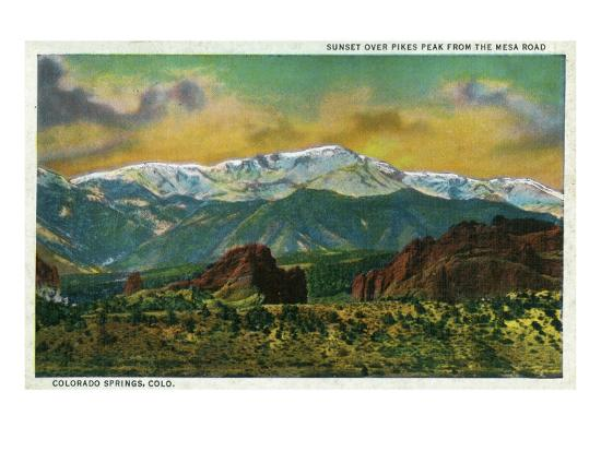 Colorado Springs, CO, Sunset over Pikes Peak View from the Mesa Road-Lantern Press-Art Print