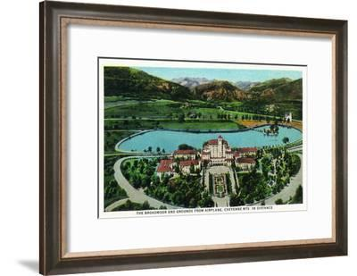 Colorado Springs, Colorado, Aerial View of Broadmoor Hotel and Grounds-Lantern Press-Framed Art Print