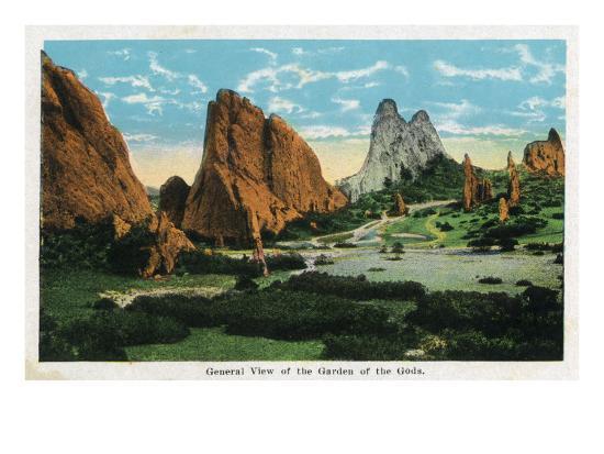 Colorado Springs, Colorado, General View of the Garden of the Gods-Lantern Press-Art Print