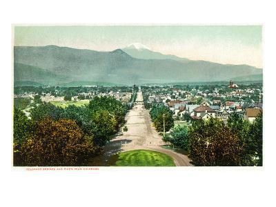 Colorado Springs, Colorado - Panoramic View of Town with Pikes Peak-Lantern Press-Art Print