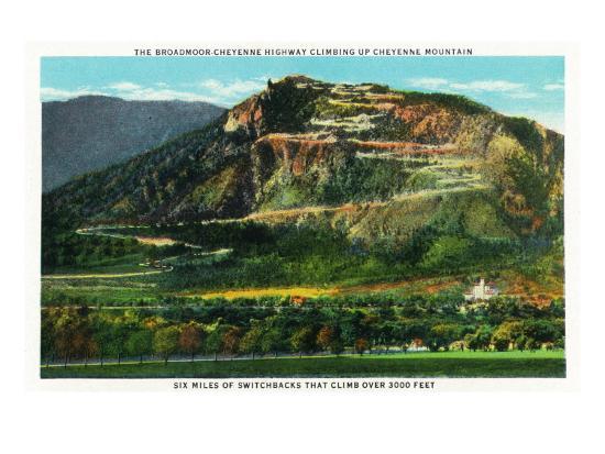 Colorado Springs, Colorado, View of Cheyenne Mountain and the Switchbacks-Lantern Press-Art Print