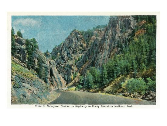 Colorado - View of Cliffs in Big Thompson Canyon on Way to Rocky Mt. National Park, c.1938-Lantern Press-Art Print