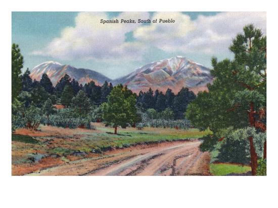 Colorado, View of the Spanish Peaks-Lantern Press-Art Print