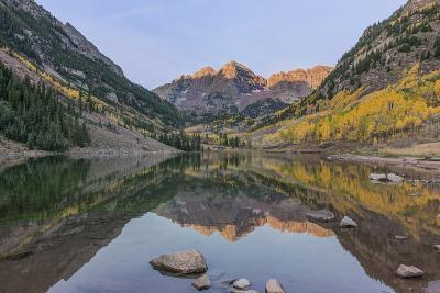 Colorado, White River National Forest, Maroon Bells with Autumn Color at First Light-Rob Tilley-Photographic Print