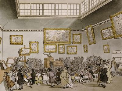 Colored Aquatint of Christies Auction Room, London, 1808--Giclee Print