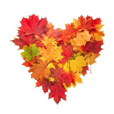 Colored Autumn Leaves In Heart Shape Isolated On White Background-Jag_cz-Art Print