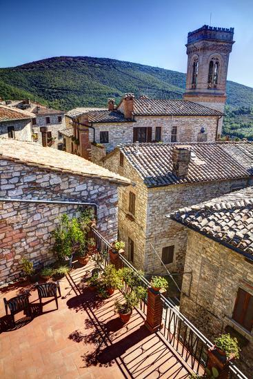 Colored Buildings and Stores Along a Back Street of Spello-Terry Eggers-Photographic Print