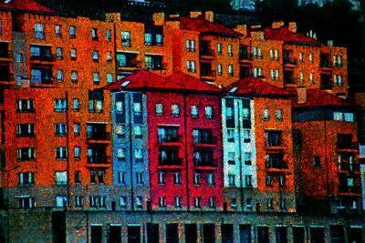 Colored Buildings-Andr? Burian-Photographic Print