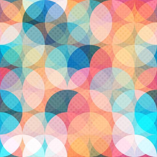 Colored Circle Seamless Pattern- gudinny-Art Print