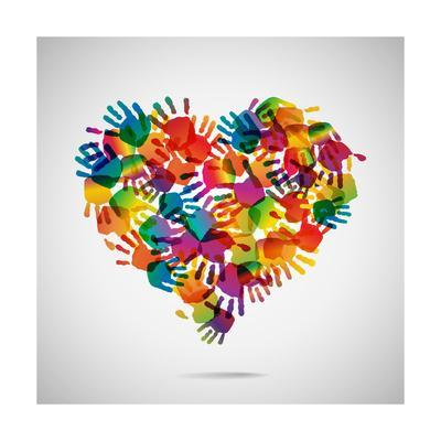 Colored Heart From Hand Print Icons-strejman-Premium Giclee Print