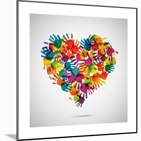 Colored Heart From Hand Print Icons-strejman-Mounted Premium Giclee Print
