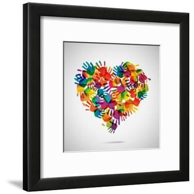 Colored Heart From Hand Print Icons-strejman-Framed Premium Giclee Print