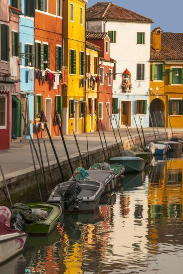 Colored House Facades Along a Canal, Burano Island, Venice, Veneto, Italy-Guy Thouvenin-Photographic Print