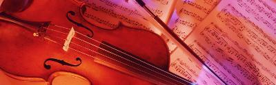Colored Lights, Close-up of a Violin--Photographic Print