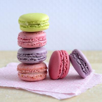 Colored Macaroons on a Platter-Sonia Chatelain-Photographic Print
