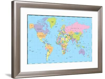 Colored World Map - Borders, Countries and Cities - Illustration-dikobraziy-Framed Art Print