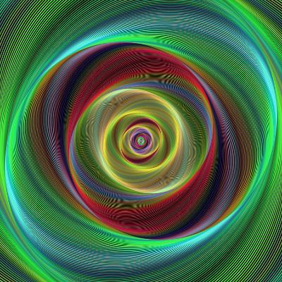 Colorful Abstract Geometric Spiral Design Background-David Zydd-Photographic Print