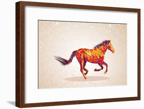 Colorful Abstract Horse Shape-cienpies-Framed Art Print