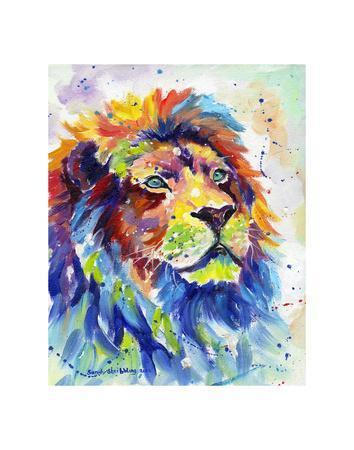 Colorful African Lion-Sarah Stribbling-Art Print