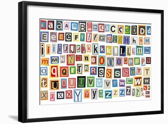 Colorful Alphabet Made Of Magazine Clippings And Letters . Isolated On White-donatas1205-Framed Art Print