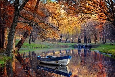 Colorful Autumn Landscape.Nature Background.Boat on the Lake in the Autumnal Forest-Iancu Cristian-Photographic Print