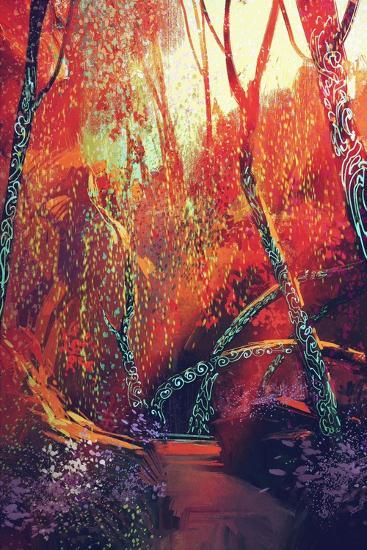 Colorful Autumnal Forest with Fantasy Trees,Scenery Illustration Painting-Tithi Luadthong-Art Print