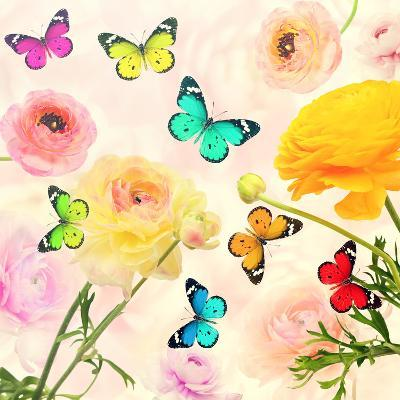 Colorful Beautiful Flowers and Butterflies Flying. Sweet Blurred Gentle Buttercups in the Backgroun-Protasov AN-Photographic Print