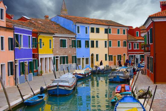 Colorful Buildings Line Canal with Boats, Burano Island, Venice, Italy-Jaynes Gallery-Photographic Print