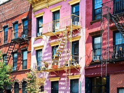 Colorful Buildings with Fire Escape, Williamsburg, Brooklyn, New York, United States-Philippe Hugonnard-Photographic Print