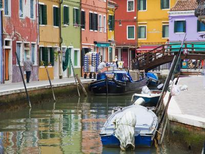 Colorful Burano City Homes Reflecting in the Canal, Italy-Terry Eggers-Photographic Print