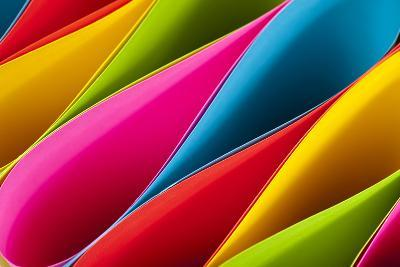 Colorful Card Stock in Unique Elliptical Shapes with Shadow Effect and Selective Focus on a Black B-Fotoluminate LLC-Photographic Print