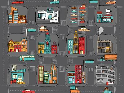 Colorful Cartoon City Map-Curvabezier-Art Print