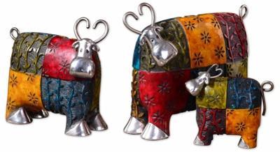 Colorful Cows Metal Figurine Pair