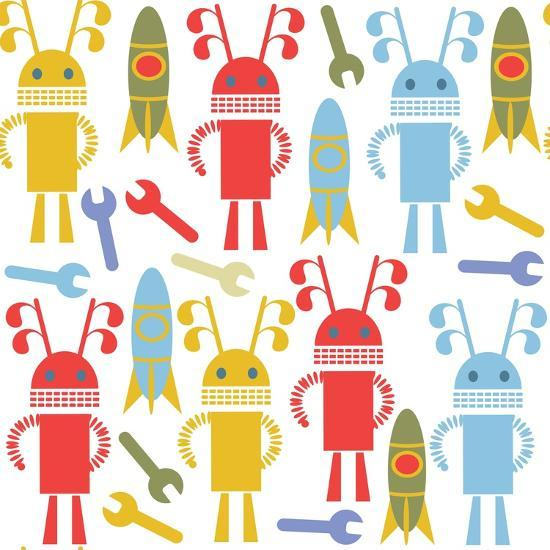 Colorful Cute Robots and Monsters Pattern-Luizavictorya72-Art Print