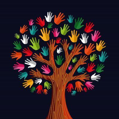 Colorful Diversity Tree Hands Illustration-Cienpies Design-Art Print