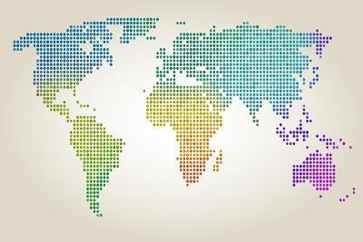 Colorful Dotted World Map-Cyborgwitch-Art Print