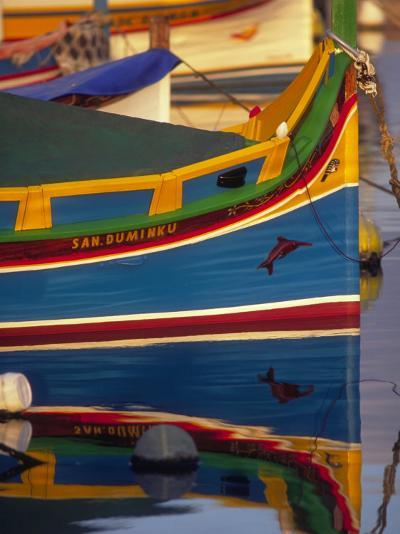 Colorful Fishing Boat Reflecting in Water, Malta-Robin Hill-Photographic Print