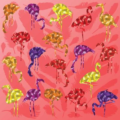 Colorful Flamingo Bird Silhouettes Illustration Collection Vector-Kristaps Eberlins-Art Print