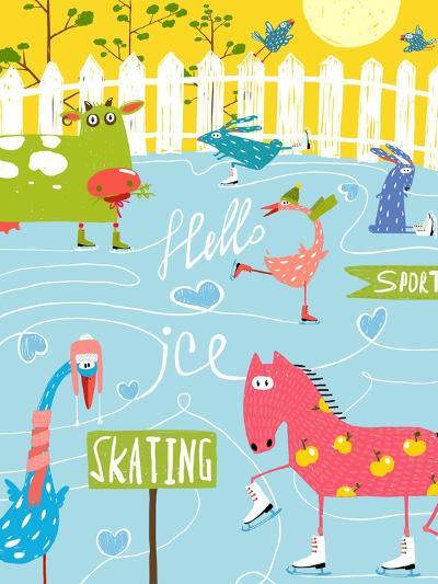 Colorful Fun Cartoon Farm Ice Skating Animals for Kids. Countryside Amusing Skating Baby Animals Il-Popmarleo-Art Print