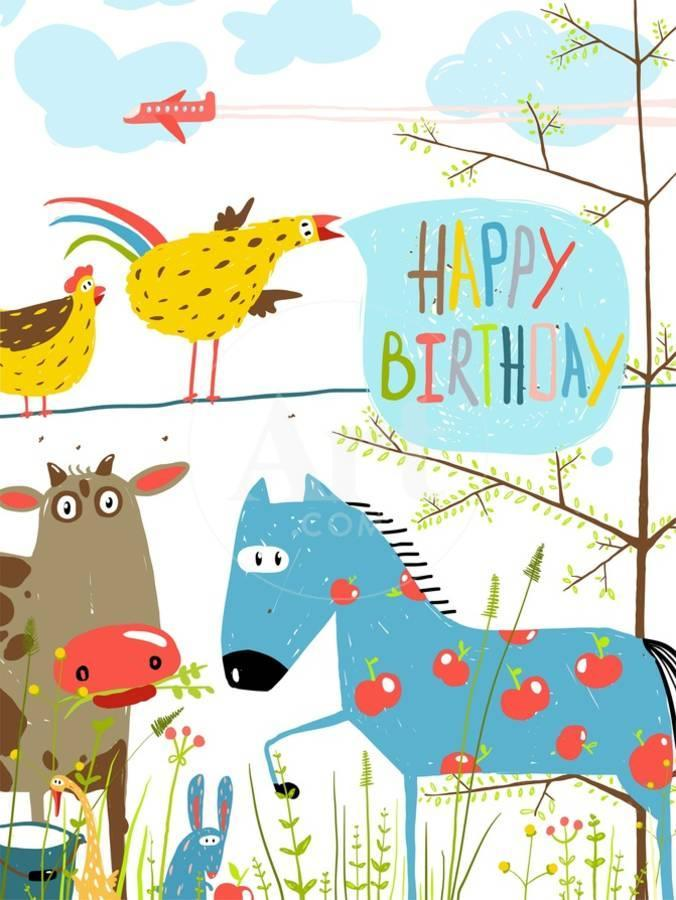Colorful Funny Cartoon Farm Domestic Animals Birthday Greeting Card Countryside Humor Cute ColorfuBy Popmarleo