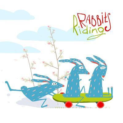 Colorful Funny Cartoon Rabbits Riding Skateboard. Amusing Skating Animals Illustration for Kids. Ve-Popmarleo-Art Print